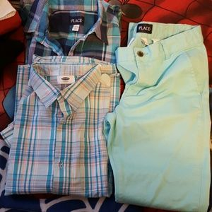 Boys casual dress pants and 2 shirts